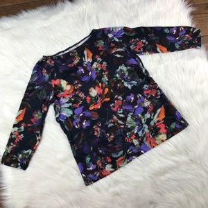 Land's End small floral top blouse blue purple